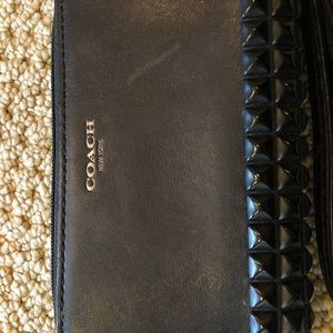 Coach Bags - Coach Legacy Pyramid Studded Blk Leather Wristlet